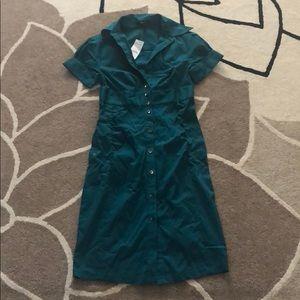 New Express Teal blue Green Shirt Dress 0